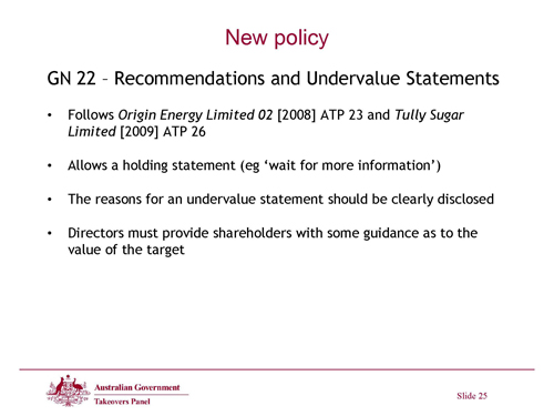 Slide 25 - New Policy