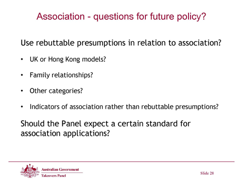 Slide 28 - Association - Questions for Future Policy?
