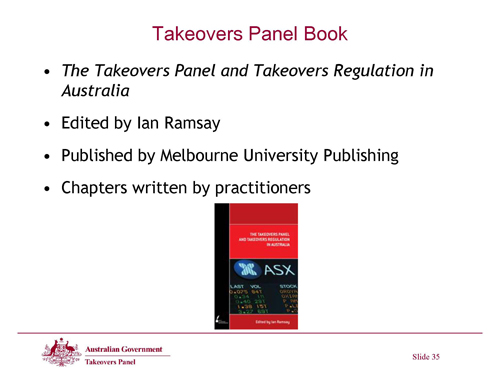 Slide 35 - Takeovers Panel Book