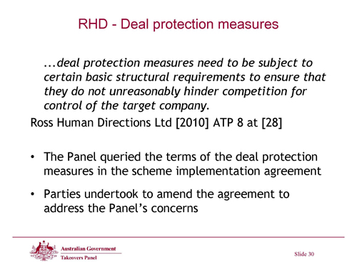 Slide 30 - RHD - Deal Protection Measures