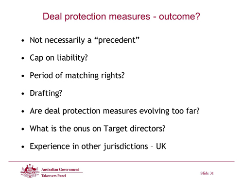 Slide 31 - RHD - Deal Protection Measures