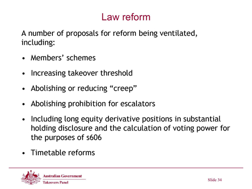 Slide 34 - Law Reform